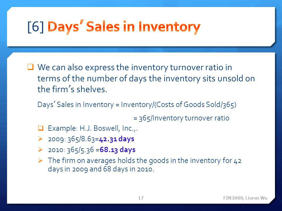 [6] Days' Sales in Inventory